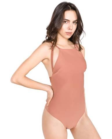 Béžové jednodielne plavky Calvin Klein