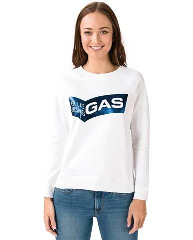 Biela mikina bez kapucne Gas